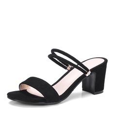 Frauen Veloursleder Stämmiger Absatz Sandalen Absatzschuhe Peep Toe Slingpumps Schuhe