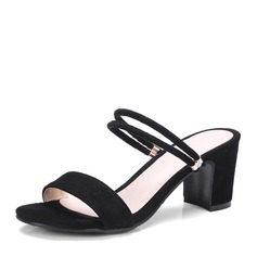 Women's Suede Chunky Heel Sandals Pumps Peep Toe Slingbacks shoes