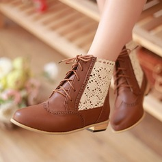 Women's Leatherette Flat Heel Closed Toe Ankle Boots With Stitching Lace Lace-up shoes