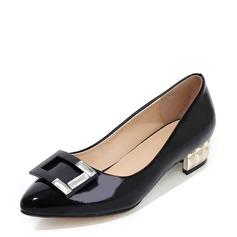 Women's Patent Leather Chunky Heel Flats With Bowknot shoes (086143513)