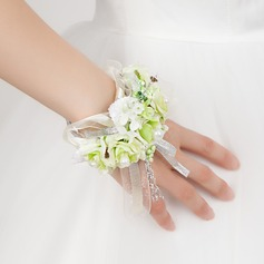 Vivifying Free-Form Satin/Cotton Wrist Corsage -