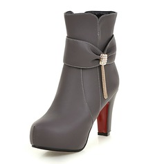 Women's Leatherette Stiletto Heel Boots Ankle Boots With Buckle Tassel shoes