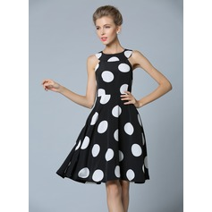 Polyester/Satin With Print Knee Length Dress (199087057)