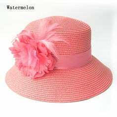 Ladies' Amazing Summer Papyrus With Silk Flower Straw Hat