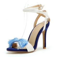 Women's Leatherette Stiletto Heel Sandals Pumps Peep Toe Mary Jane With Bowknot shoes (085211574)
