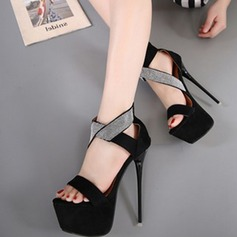 Women's Suede Leatherette Stiletto Heel Sandals Pumps Peep Toe With Split Joint shoes