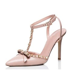 Women's Patent Leather Stiletto Heel Pumps Closed Toe With Rivet Buckle shoes