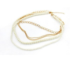 Shining Alloy Imitation Pearls Ladies' Fashion Necklace