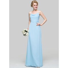 A-Line/Princess Cowl Neck Floor-Length Chiffon Bridesmaid Dress With Ruffle