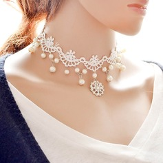 Fashional Alloy Imitation Pearls Lace With Imitation Pearl Ladies' Fashion Necklace