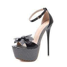 Frauen PU Stöckel Absatz Sandalen Absatzschuhe Peep Toe mit Bowknot Schnalle Schuhe (087151062)