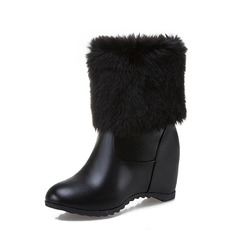 Women's Leatherette Wedge Heel Pumps Wedges Mid-Calf Boots With Fur shoes