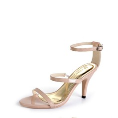 Women's Leatherette Cone Heel Pumps Sandals With Buckle
