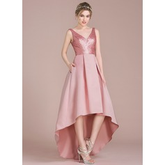 A-Line/Princess V-neck Asymmetrical Satin Sequined Bridesmaid Dress With Pockets