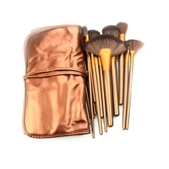 21Pcs Practical Artificial Fibre Makeup Brush Set With Coffee Pouch #CB2103 (046063292)