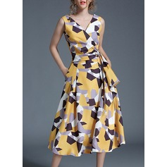 Polyester With Print Midi Dress (199127207)