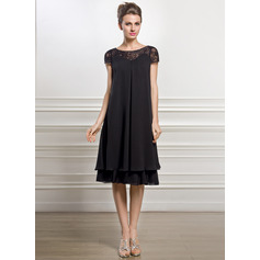 Empire Scoop Neck Knee-Length Chiffon Mother of the Bride Dress With Beading Sequins (267196330)