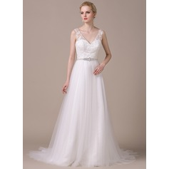 A-Line/Princess V-neck Court Train Tulle Lace Wedding Dress With Beading Sequins