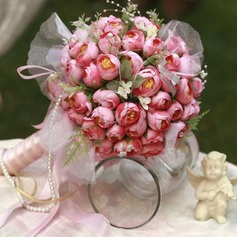 Fascinating Round Satin Bridal Bouquets -