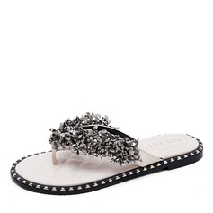 Women's Leatherette Flat Heel Flats Flip-Flops Peep Toe Slingbacks With Sequin Crystal