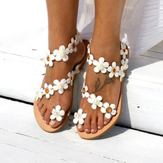 Women's Leatherette Flat Heel Flats Peep Toe Sandals With Flower (047208112)