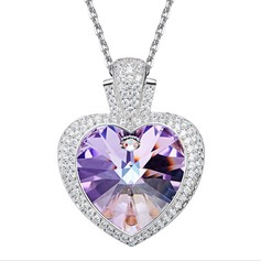 Ladies' Shining S925 Sliver With Heart Cubic Zirconia Necklaces For Bride/For Bridesmaid/For Friends