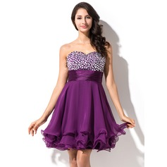 Empire Sweetheart Short/Mini 30D Chiffon Homecoming Dress With Beading