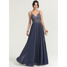 V-neck Floor-Length Chiffon Prom Dresses With Beading (272198234)