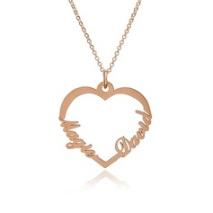 [Free Shipping]Custom 18k Rose Gold Plated Silver Two Name Necklace Heart Necklace