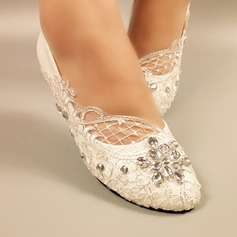 Women's Leatherette Flat Heel Closed Toe Pumps With Rhinestone Stitching Lace