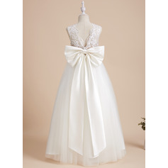 A-Line Floor-length Flower Girl Dress - Satin/Tulle/Sequined Sleeveless Scoop Neck With Sequins/Bow(s)/V Back