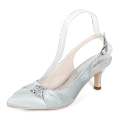 Women's Silk Like Satin Stiletto Heel Pumps With Rhinestone