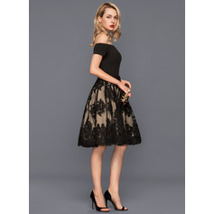 A-Line/Princess Off-the-Shoulder Knee-Length Tulle Lace Cocktail Dress With Bow(s) (016140366)