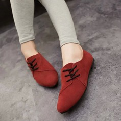 Women's Suede Flat Heel Flats Closed Toe With Lace-up shoes