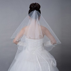 One-tier Elbow Bridal Veils With Faux Pearl