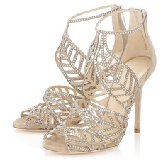 Women's Leatherette Stiletto Heel Peep Toe Sandals With Zipper