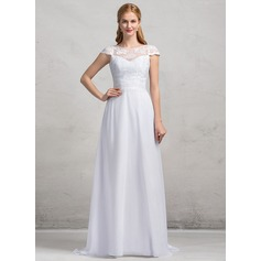 A-Line/Princess Scoop Neck Sweep Train Chiffon Lace Wedding Dress With Bow(s)
