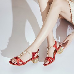 Women's PU Chunky Heel Sandals Peep Toe With Imitation Pearl Buckle Jewelry Heel shoes