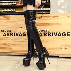 Women's Patent Leather Stiletto Heel Pumps Platform Over The Knee Boots With Bowknot Zipper shoes