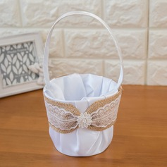 Lovely Flower Basket in Satin With Sash