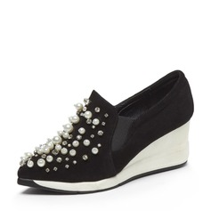 Women's Real Leather Wedge Heel Closed Toe Wedges With Imitation Pearl shoes