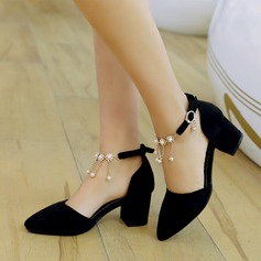 Women's Leatherette Chunky Heel Sandals Pumps Closed Toe With Imitation Pearl Tassel shoes