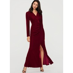 Velvet With Stitching/Crumple Maxi Dress (199189952)