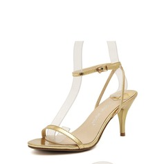 Women's Leatherette Cone Heel Sandals Peep Toe With Buckle shoes