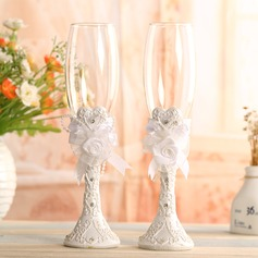 Beautiful Toasting Flutes With Flowers (Set Of 2)