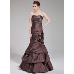 Trumpet/Mermaid Sweetheart Floor-Length Taffeta Evening Dress With Ruffle Flower(s)
