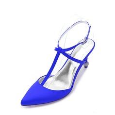 Women's Silk Like Satin Stiletto Heel Pumps Sandals Slingbacks With Buckle Hollow-out