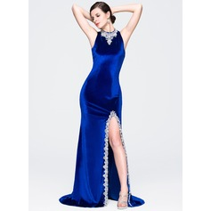 Sheath/Column High Neck Court Train Velvet Prom Dresses With Beading Sequins Split Front