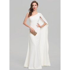 Sheath/Column One-Shoulder Floor-Length Satin Evening Dress (017137379)