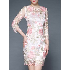 Polyester With Embroidery Knee Length Dress (199137195)